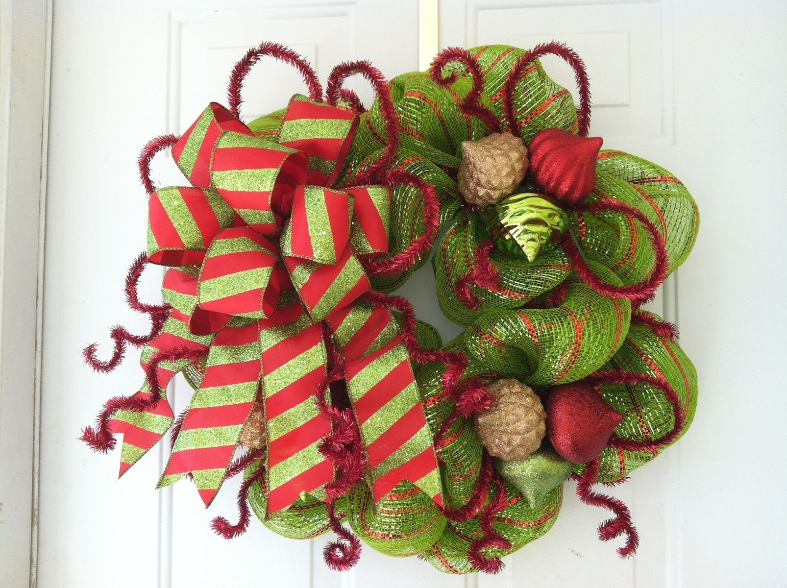 Custom Made Lime Green & Red Striped, Metallic Deco Mesh Holiday Wreath