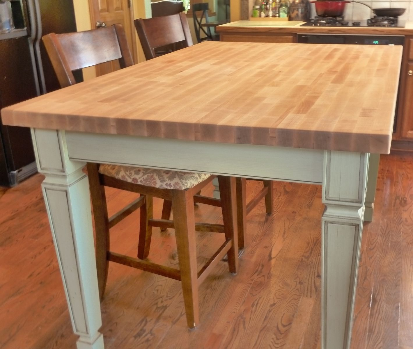 Hand made butcher block kitchen table by parker custom for Kitchen island table with chairs