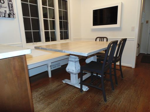 Custom Made Farmhouse Pedestal Base Trestle Table