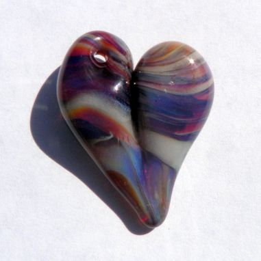 Custom Made Hand-Blown Glass Heart Pendant In Amber And Purple Swirls