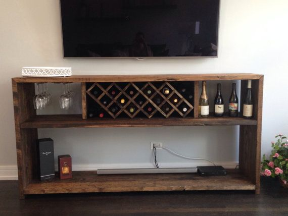 Hand Crafted Wine Bar With Bottle Rack And Glass Rack
