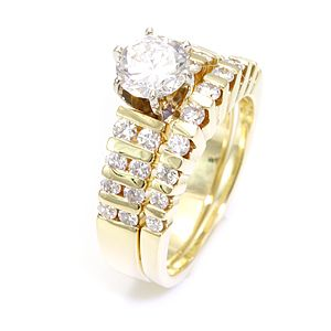 Custom Made Round Diamond Ring And Band In 14k Yellow Gold, Wedding Set