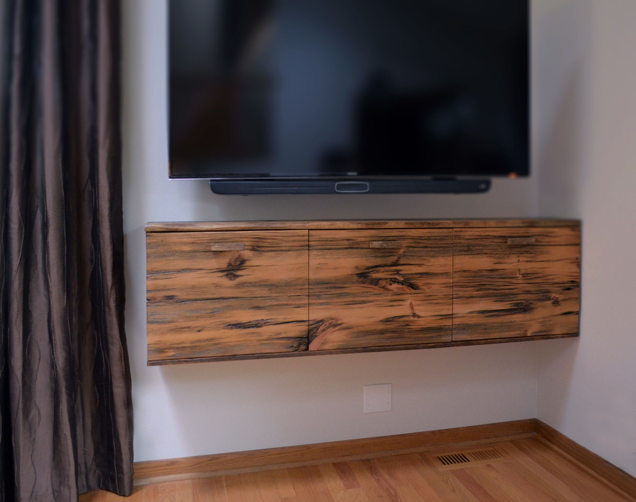 Hand Crafted Rustic Floating Media Cabinet By Abodeacious