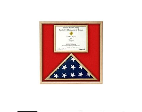 Custom Made Us Marine Corp Flag And Certificate Display Case/ Award Case