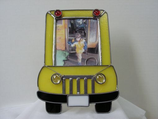 Custom Made Yellow Stained Glass School Bus Tabletop Picture Frame