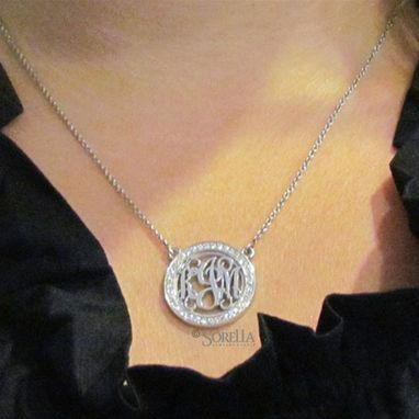 Custom Made Personalized Diamond Rimmed Monogram Pendant With Chain