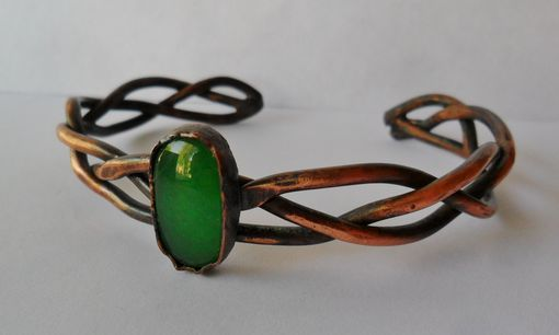 Custom Made Green Agate Copper Braided Cuff Bracelet