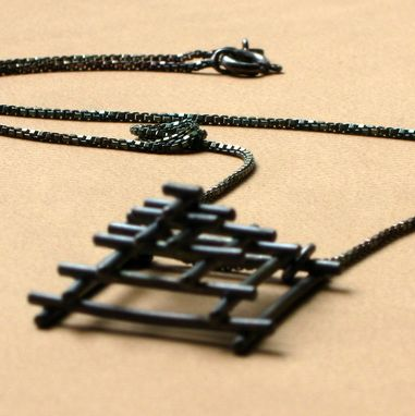 Custom Made Sterling Tiny Temple Pendant Oxidized
