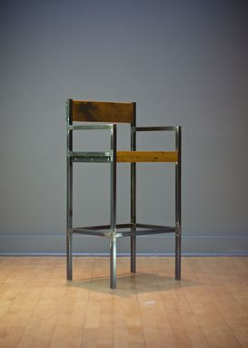 Custom Made Urban Industrial Counter Stool/Bar Stool W/ Seat Back And Arms - Reclaimed Wood, Welded Steel Tubing