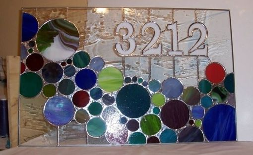 Custom Made Stained Glass Bubble Window And Transom - 3212 (Am-177)