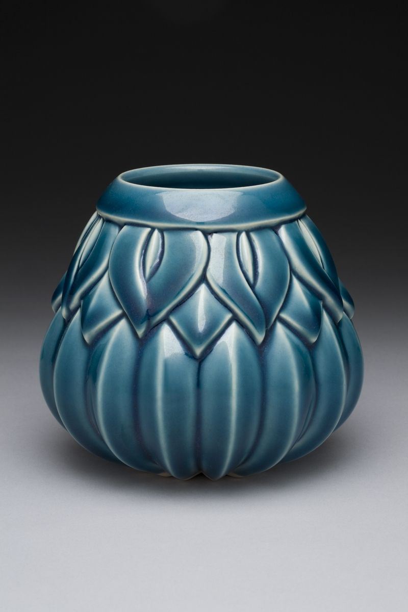 Striped Leaf Motif Ceramic Vase