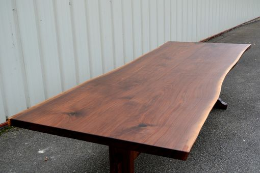 Custom Made Live Edge Walnut Trestle Table
