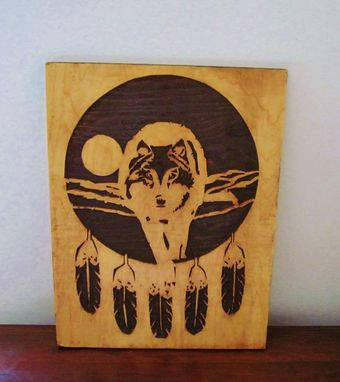 Custom Made Native American Indian Inspired Art Wood Carving Wolf With Feathers Dream Catcher/Mandela