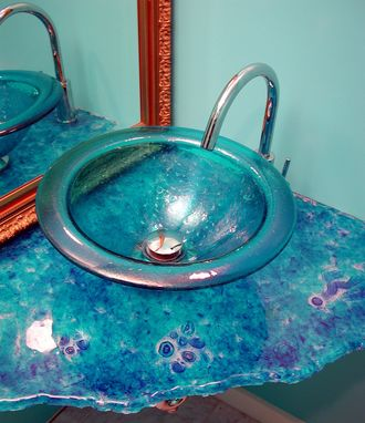 Custom Made Jamaica Blue Sink And Cast Cane Counter