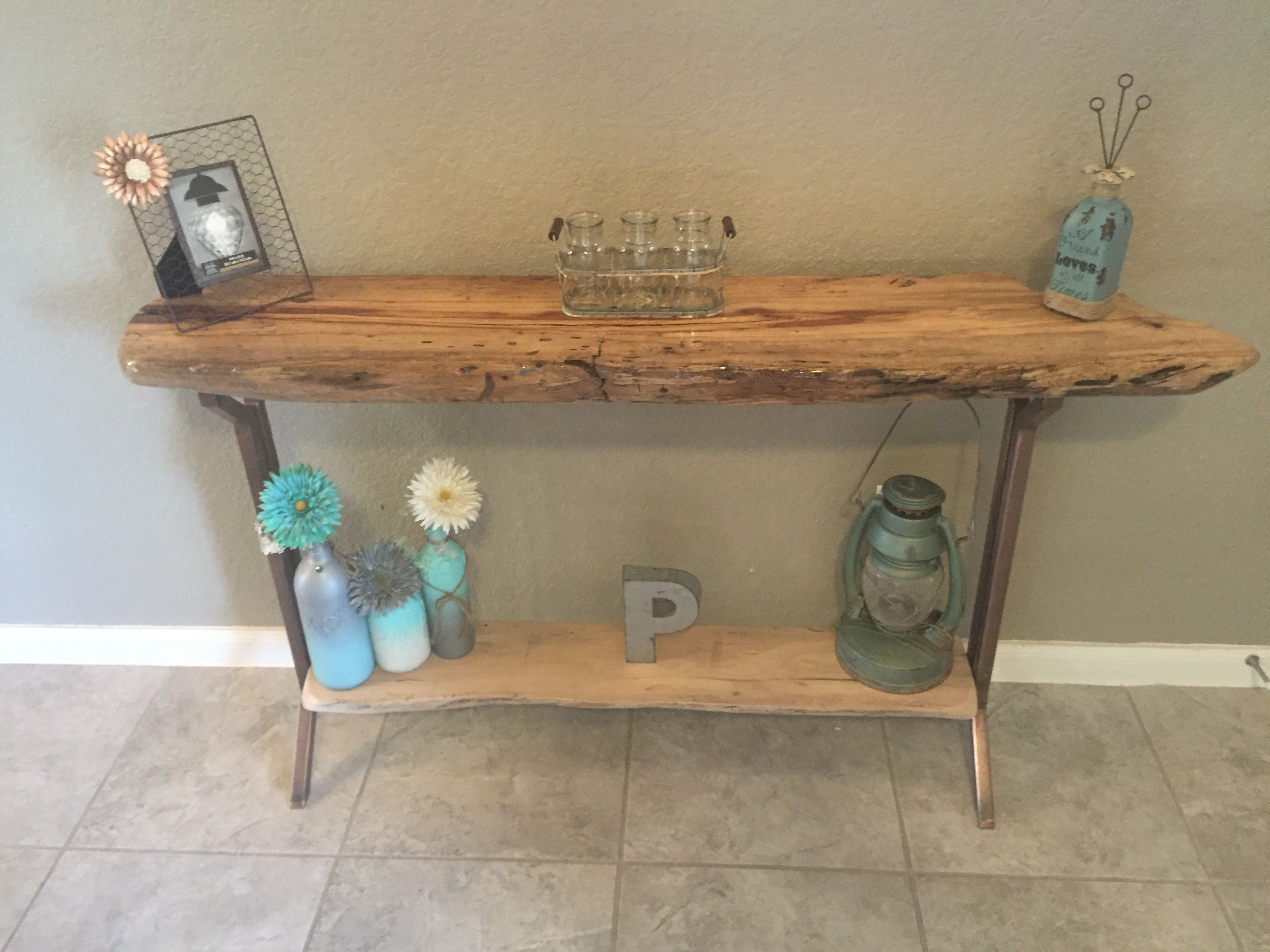 Hand Crafted Console Table Live Edge Furniture Entryway