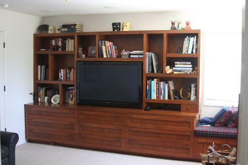 Custom Made Custom Cherry Bookcase With Tv