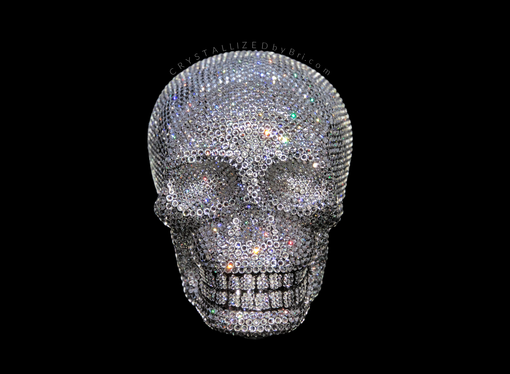 Custom Made Crystallized Skull Halloween Bling Home Decor Swarovski Crystals Bedazzled