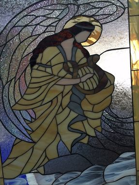 Custom Made Beautiful Angel & Harp Stained Glass Window