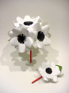Hand made black and white anemone paper flower bouquet by dear betsy custom made black and white anemone paper flower bouquet mightylinksfo