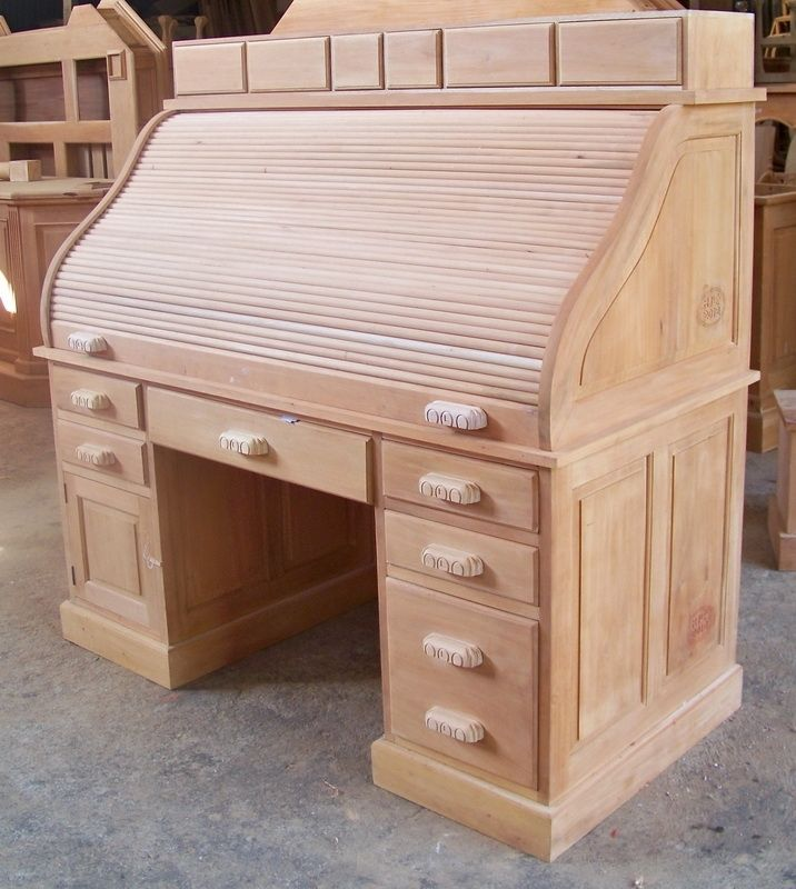 Custom Made 5ft Wide Gany Roll Top Secretary Office Desk