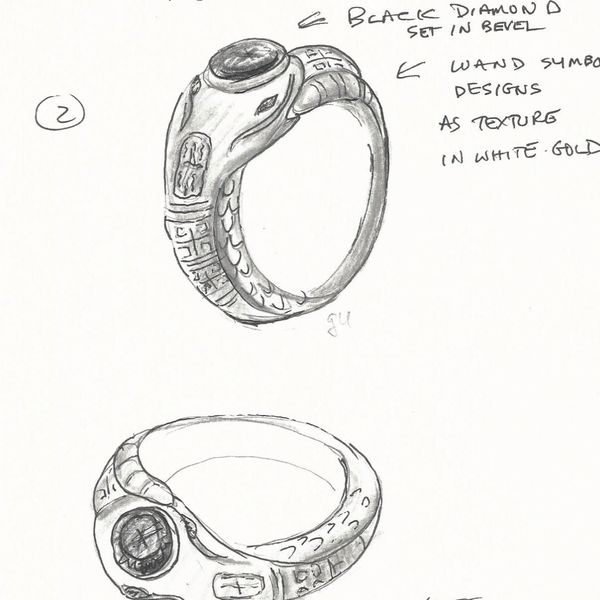 sketches for a slytherin ring with a black diamond bezel set in the head of the snake and snapes wand detailing etched in the band