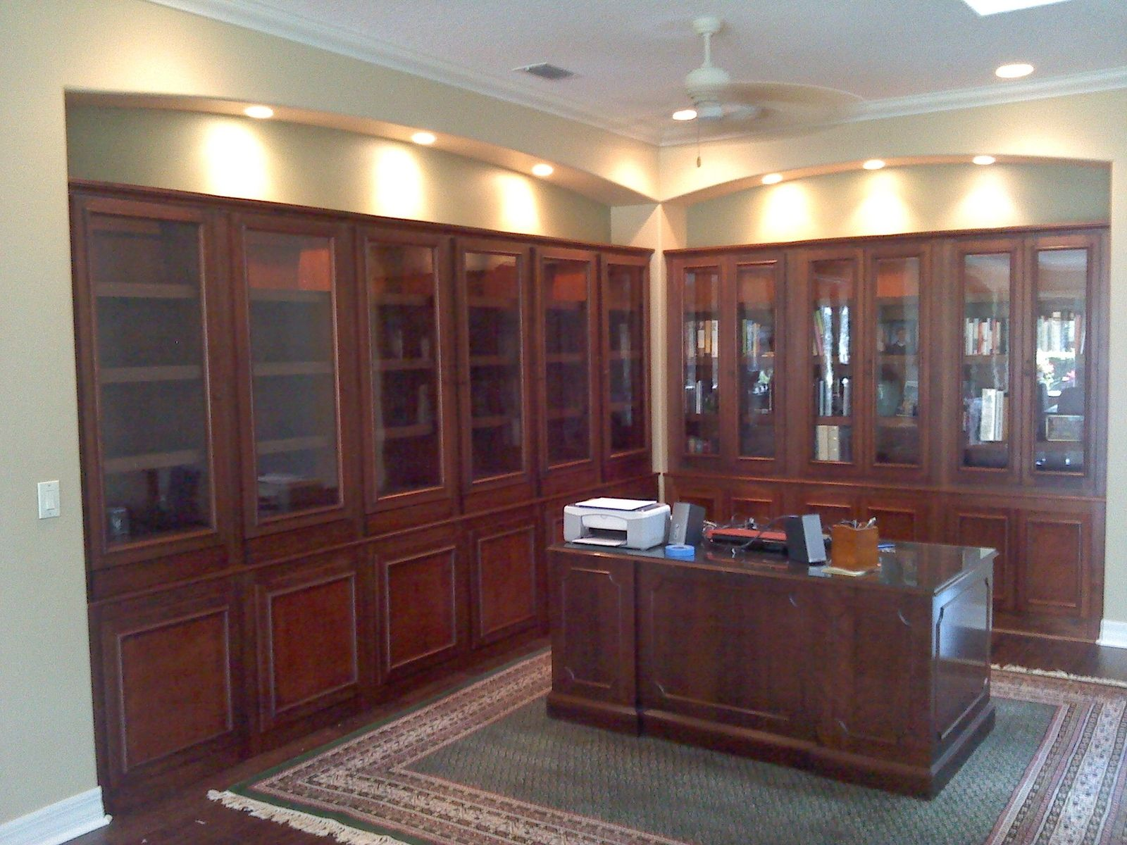 Hand crafted custom home library bookcases by natural Custom room design