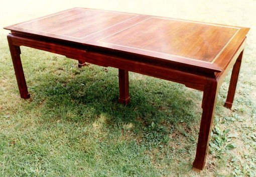 Custom Made Orential Dining Table In Cocobolo Rsewood & Brass