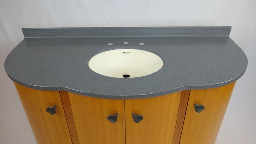 Custom Made Custom African Anigre Curved Vanity With Solid Surface Sink And Counter Top