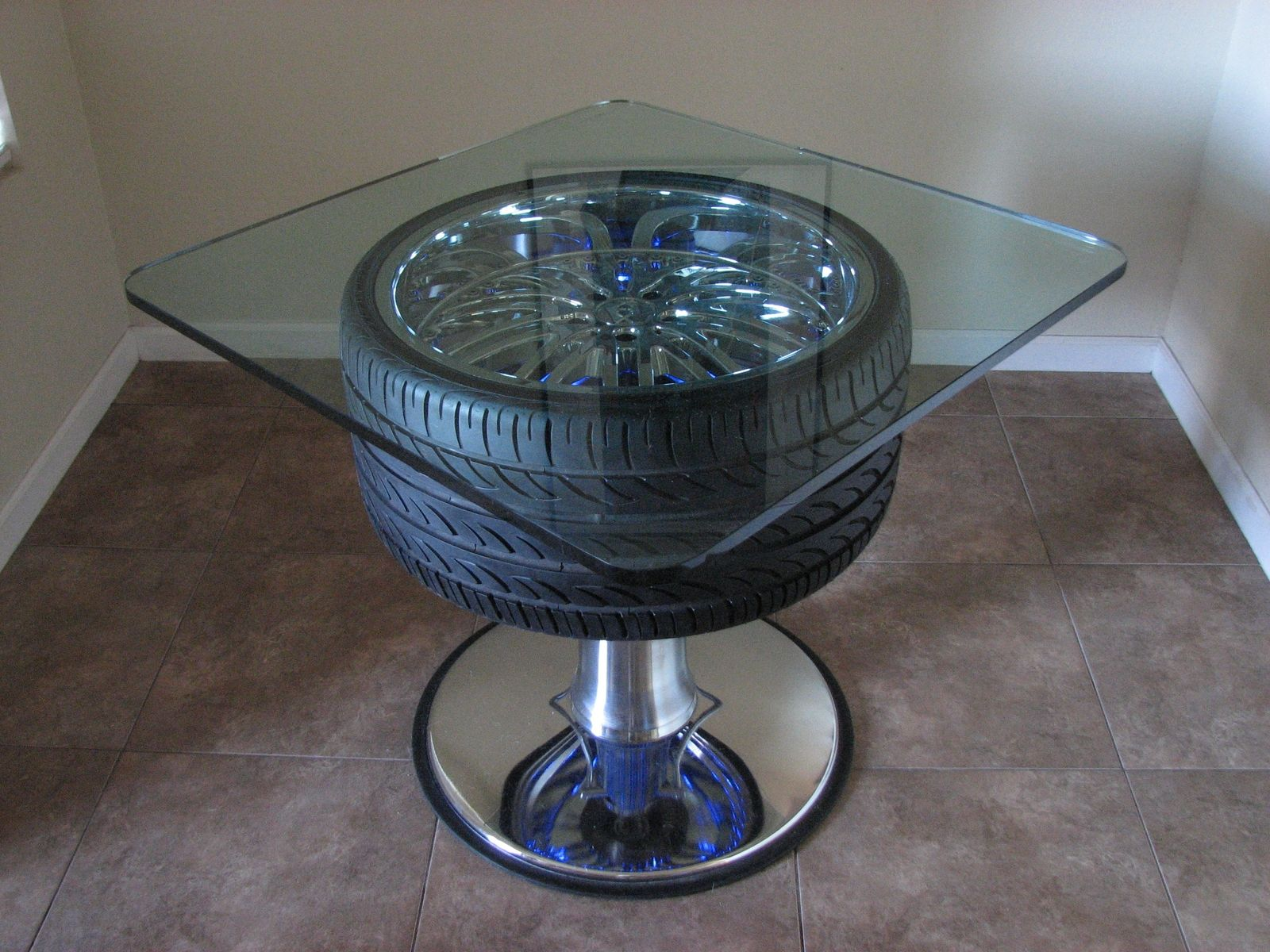 Hand Crafted Artomotive Designs Wheel Tables by Artomotive Designs