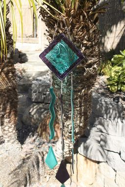 Custom Made Glass Windchime With Dragonflies
