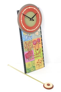 Custom Made Pendulum Wall Clock With Flowers - Ode To Spring Art Clock - Spring Sale