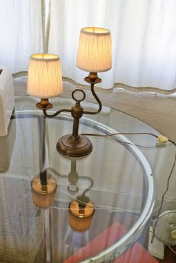 Custom Made Two-Light Candlestick Table Lamp With Loop