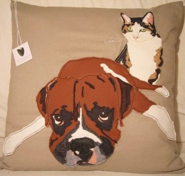 Custom Made Custom Chopper The Dog And Vera The Cat Duo Pet Portrait Pillow
