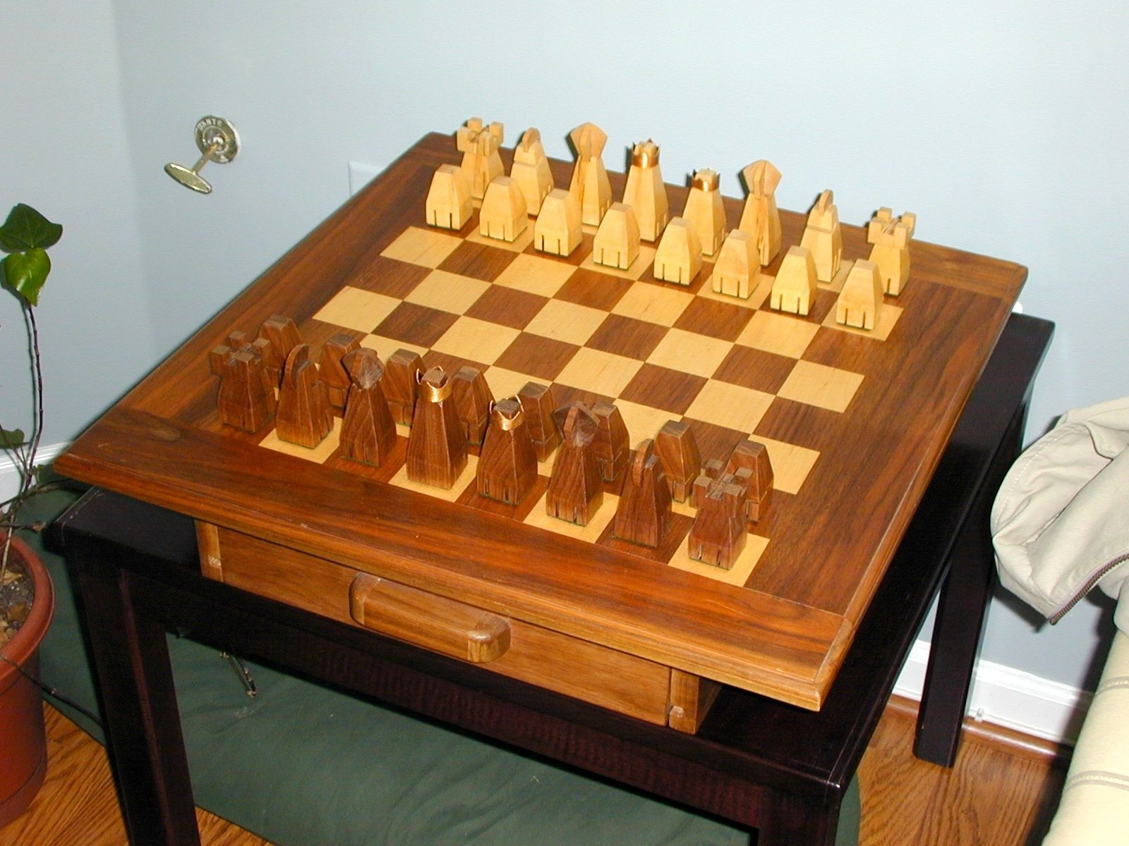 Custom made chess set and board