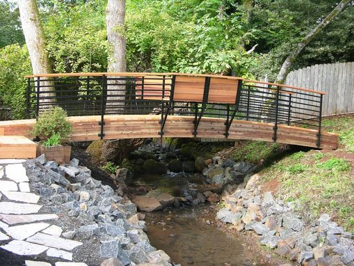 Custom Made Contemporary Arched Foot Bridge With Bench