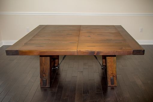 Custom Made Reclaimed Heart Pine Trestle Dining Table