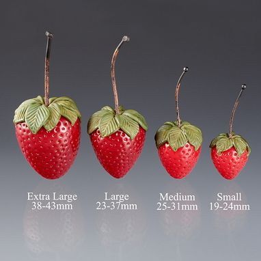 Custom Made Realistic Glass Strawberry Sculptures, Life-Sized