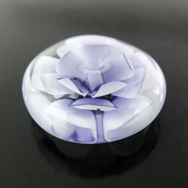 Custom Made Ink Lotus Bead Button Handmade Lampwork Glass By Gemfox Sra Usa