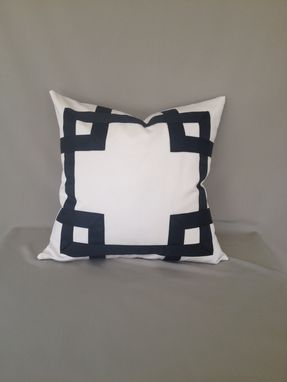 Custom Made Black And White Ribbon Embellishment Pillow Cover