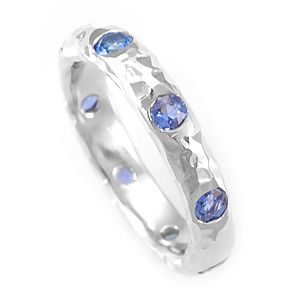 Custom Made Blue Sapphire Band In 14k White Gold, September Birthstone Ring, Colored Stone Ring