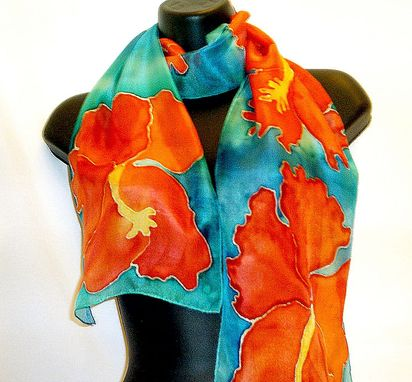Custom Made Red And Blue Floral Hand Painted Silk Scarf