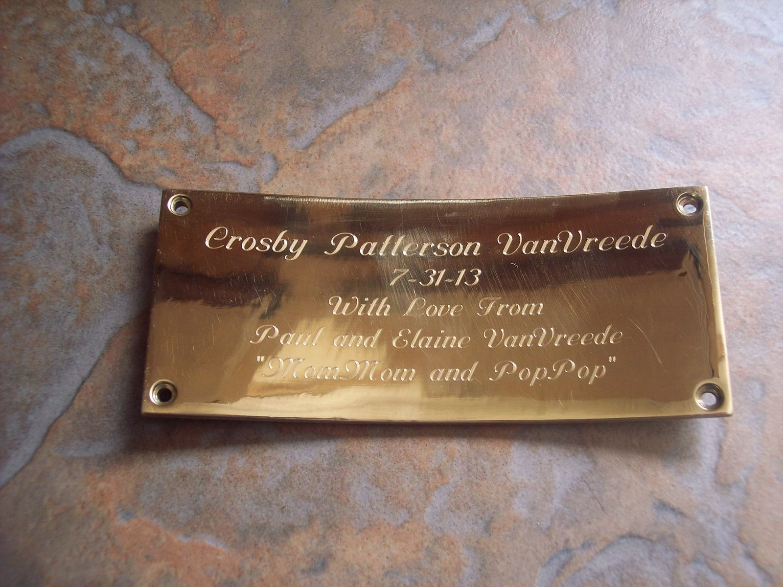 custom engraved plaque metal work by daniel mcquestion. Black Bedroom Furniture Sets. Home Design Ideas