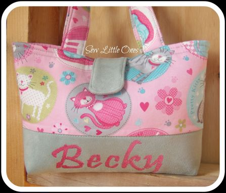 Custom Made Personalize Pink And Gray Pretty Kitty-Little Girls Purse