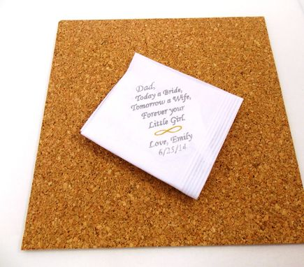 Custom Made Wedding Planning.  Father Of The Bride Handkerchief. Embroidered And Personalized .