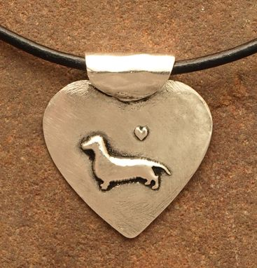 Custom Made Simple Silver Dachshund Heart Necklace - Sm