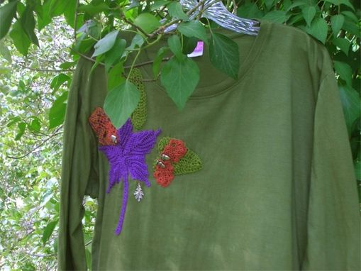 Custom Made Fall Leaves Crochet Embellished Jersey Long Sleeved T-Shirt