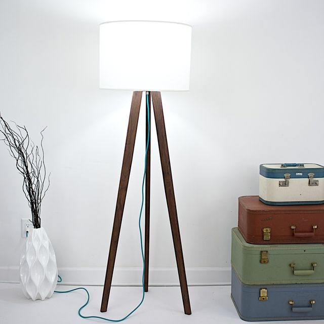 A Handmade Solid Walnut Mid Century Modern Tripod Floor Lamp With Teal Cord Made To Order From Moderncre8ve Custommade