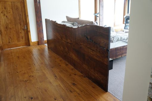 Custom Made Claro Walnut Slab Headboard W/ Floating Bed Frame And Nightstands