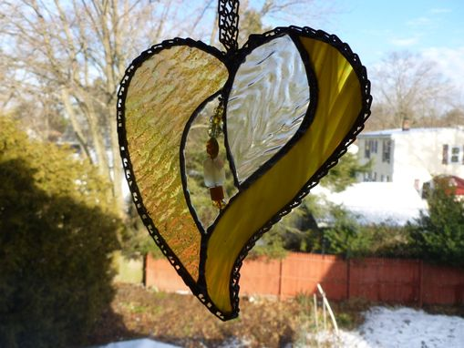 Custom Made Amber Iridescent Stained Glass Heart With Beads And Crystals
