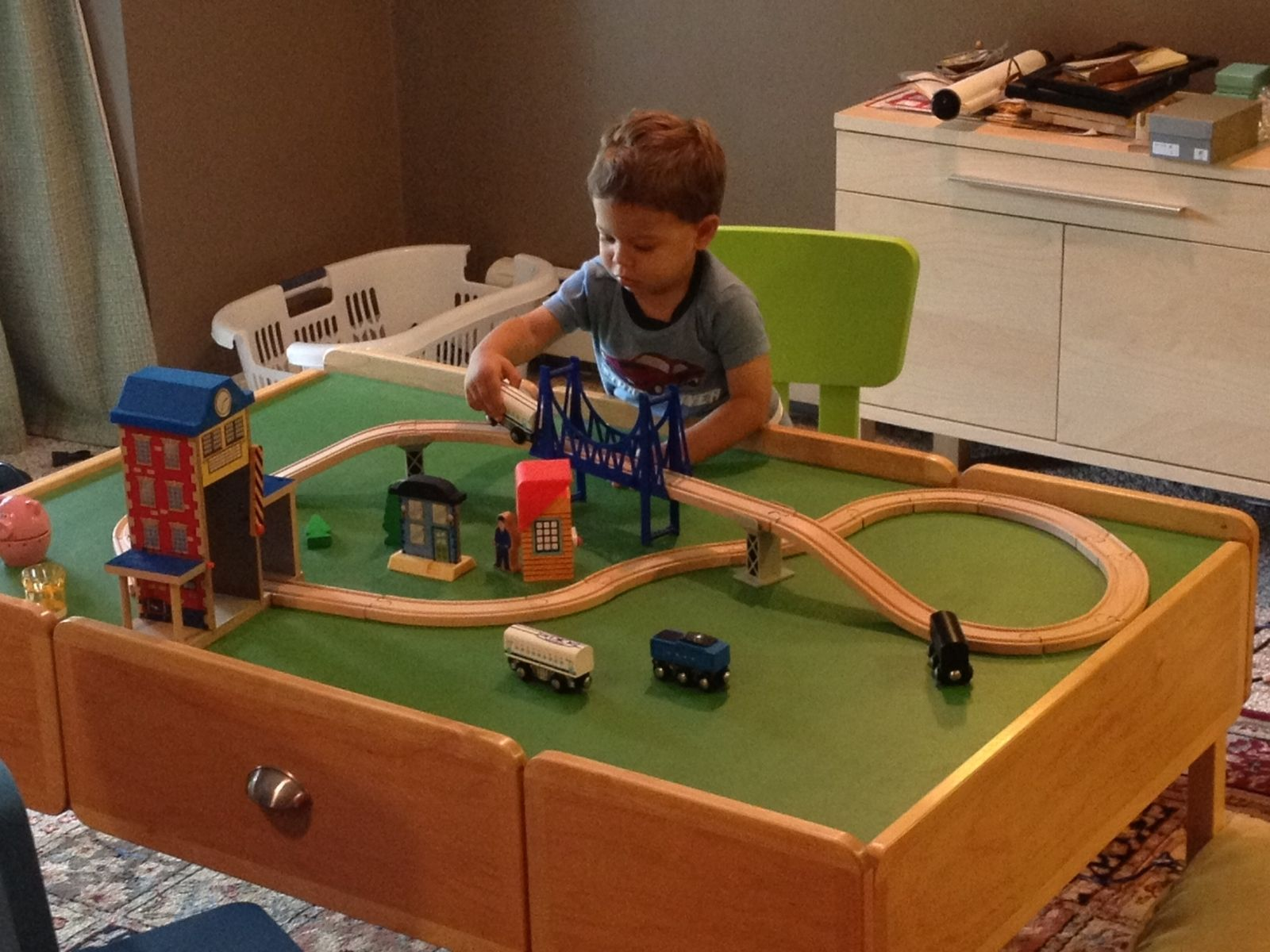 Hand made toy train table by toms handcrafted furniture custom made toy train table stopboris Image collections